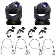American DJ 2 Inno Spot Pro LED Moving Head Fixtures w/ 4 Clamps & Safety Cables