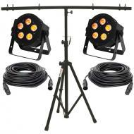 American DJ (2) 5P Hex LED Par Lighting Fixture with 50 ft DMX Cable & Stand