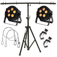 American DJ 2 5P Hex LED Par Lighting Fixture w/ Stand, 2 Clamps & Safety Cables