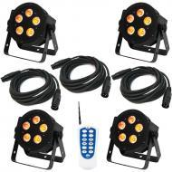 American DJ (4) 5P Hex LED Par Lighting Fixture with DOTZ RF Remote & 3 Cables