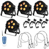 American DJ 4 5P Hex LED Par Lights w/ DOTZ RF Remote & 4 Clamps & Safety Cables
