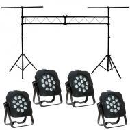 American DJ (4) Flat Par TW12 White LED Fixture with Portable Truss Light Stand