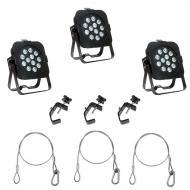 American DJ (3) Flat Par TW12 White LED Fixtures with 3 Clamps & 3 Safety Cables