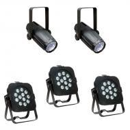 American DJ (3) Flat Par TW12 Dynamic White LED Fixtures with 2 Pinspot Lights