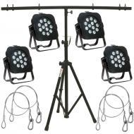 American DJ 4 Flat Par TW12 White LED Fixtures w/ Tripod Stand & 4 Safety Cables