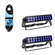American DJ (2) UV LED Bar20 Ultraviolet Bar Fixture with 25ft 3-Pin DMX Cable