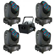 Blizzard (4) Blade RGBW Moving Head Fixture Package with Fog Storm 1700W Fogger