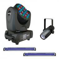 Blizzard Blade RGBW Moving Head Package w/ (2) E-123 Blacklight & LED Pinspot 2