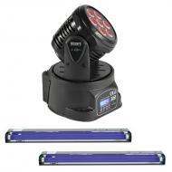 Blizzard Flurry 5 Moving Head Lighting Pack with (2) E-123 24-Inch Blacklight