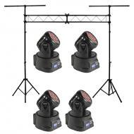 Blizzard (4) Flurry 5 Moving Head Fixture Pack w/ Portable Truss Lighting Stand