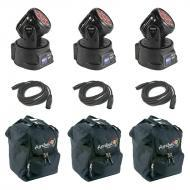Blizzard (3) Flurry 5 Moving Head Fixtures w/ 3 AC115 Bags & 3 15Ft DMX Cables