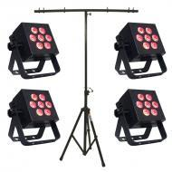 Blizzard (4) HotBox 5 RGBAW Par Fixture Package w/ Portable T-Bar Lighting Stand