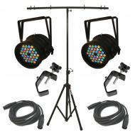 Blizzard (2) RockLite RGBAW LED Par Wash Pack w/ T-Bar Stand & (2) Clamp/Cable