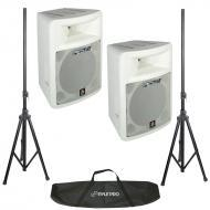 Peavey (2) Impulse 1012 8-Ohm 2-Way White Loudspeakers with Dual Speaker Stands