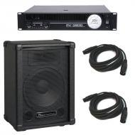 """Peavey PV 3800 Rackmount 2650W 8 Ohm Power Amp w/ 10"""" Speaker Cabinet & 2 Cables"""