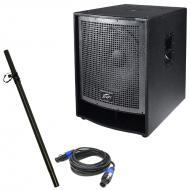 """Peavey QW 118 18"""" Loudspeaker with 15' Male Speakon Cable & Pole Mount Stand"""