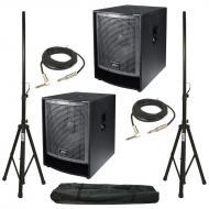 """Peavey (2) QW 118 18"""" Loudspeakers with Speaker Stands & Audio Cables Packages"""