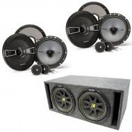"Kicker (2) KSS67 6.75"" Component Speakers w/ Dual 8"" Loaded Subwoofer Enclosure"