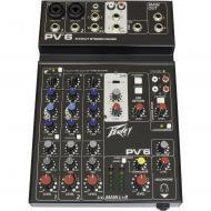 Peavey PV 6 120US 2 Channel Non-Powered Compact Studio Mixer with Stereo Pan Control