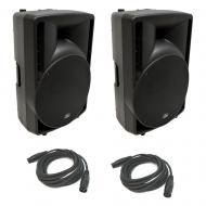 "(2) Harmony Audio HA-C15A Pro DJ 15"" Powered 1000W PA Speaker & (2) XLR Cable"