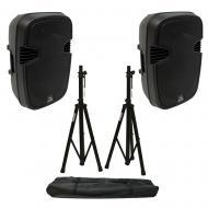 "(2) Harmony Audio HA-L12BA Pro DJ Bluetooth 12"" 1000W Powered PA Speaker Stands"