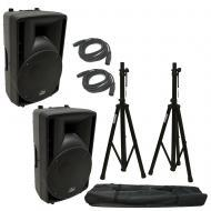 "(2) Harmony Audio HA-C10A Pro DJ 10"" Powered 400W PA Speaker XLR Cable (2) Stand"