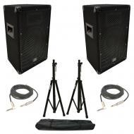 "(2) Harmony Audio HA-V10P Pro DJ 10"" Passive 300W PA Speaker 1/4"" Cables Stands"