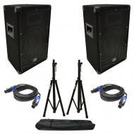 "(2) Harmony Audio HA-V10P DJ 10"" Passive 300W PA Speaker Speakon Cables & Stands"