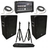 "(2) Harmony HA-V10P 10"" DJ PA Speaker Peavey PV 5300 Powered Mixer Cables Stands"