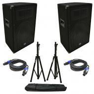 "(2) Harmony Audio HA-V12P DJ 12"" Passive 450W PA Speaker Speakon Cables & Stands"