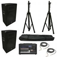 "(2) Harmony HA-V12P 12"" DJ PA Speaker Peavey PV 6500 Powered Mixer Cables Stands"
