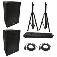 "(2) Harmony Audio HA-V15P DJ 15"" 900W PA Speaker Speakon to 1/4"" Cables & Stands"