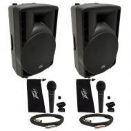 "(2) Harmony Audio HA-C12A Pro DJ 12"" Powered 800W Active Speaker (2) Peavey Mic"
