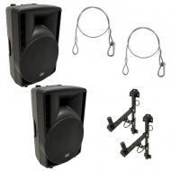 "(2) Harmony Audio HA-C12A Pro DJ 12"" Powered 800W PA Speaker (2) Wall Mount New"