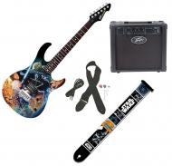 Peavey Star Wars Classic Collage Rockmaster Full Size 21 Fret Electric Guitar, Darth Vader Strap ...