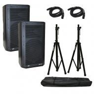 "(2) Peavey DM 112 Dark Matter Pro Audio Powered 12"" Speaker w/ Stands & Cables"