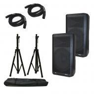 "(2) Peavey DM 115 Dark Matter Pro Audio Powered 15"" Speaker w/ Stands & Cables"