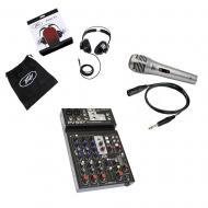 Peavey PV6 BT Pro Audio DJ Bluetooth 6 Channel Mixer w/ PVH 11 Headphones & Mic