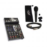 Peavey PV6 BT Pro Audio DJ Bluetooth 6 Channel Slim Mixer & PVi 100 Microphone