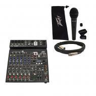 Peavey PV10 BT Pro Audio DJ Bluetooth 10 Channel Slim Mixer & PVi 100 Microphone