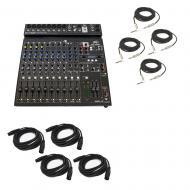 "Peavey PV14 BT Pro Audio DJ Bluetooth 14 Channel Mixer (4) 1/4"" & (4) XLR Cables"