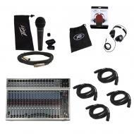 Peavey PV20 USB Pro Audio DJ 20 Channel DSP Effects Mixer Mic Headphones Cables