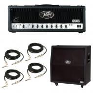 Peavey 6505 412 Slant Cabinet & 6505 Amp Head Electric Guitar Package w/ Cables