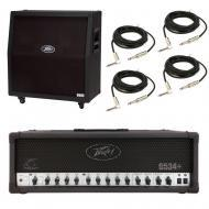 Peavey 6505 412 Slant Cabinet & 6534 + Plus Amp Head Guitar Package w/ Cables