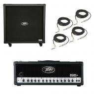 Peavey 6505 412 Straight Cabinet & 6505 + Plus Amp Head Guitar Package w/ Cables