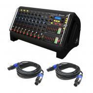 Peavey XR-AT Pro Audio DJ 1500W Powered 9 Channel Live Sound Stage Mixer Cables