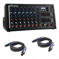 Peavey XR-S Pro Audio Powered 1500W 8 Channel Live Sound Mixer & Speakon Cables