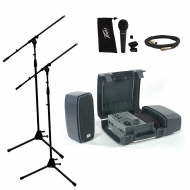 Peavey Messenger Portable  5 Channel Mixer 100 Watt Amp Speaker Package with Stands, Mic & Ca...