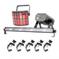 Chauvet Jam Pack Gold DJ Derby Laser Fog Plug and Play Party Package & Clamps - Refurbished