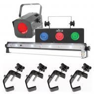 Chauvet Jam Pack Silver DJ Moonflower Strobe Wash Plug and Play Party & Clamps - Refurbished